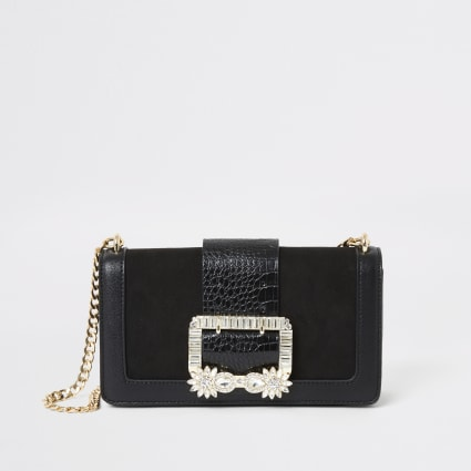 Black embellished buckle underarm bag