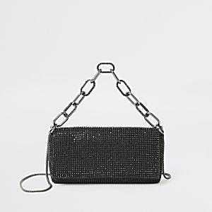 Schwarze Handtasche mit Strasssteinen