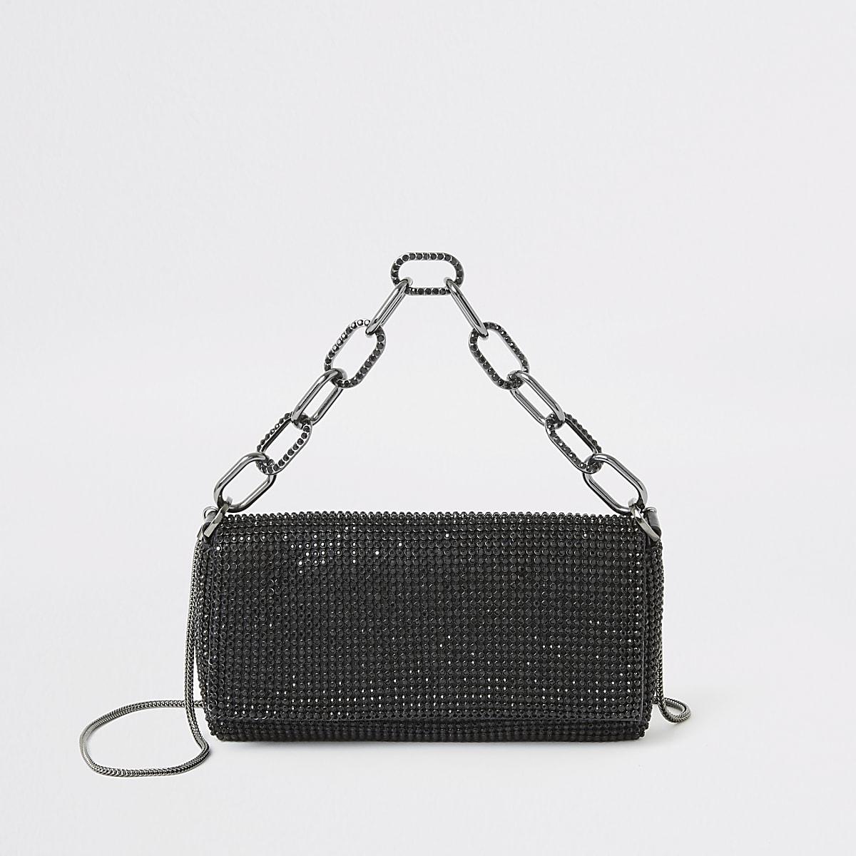 Black diamante embellished underarm bag