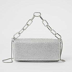 Silberne Handtasche mit Strassverzierung