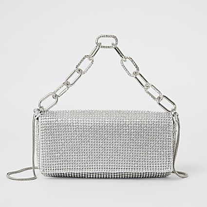 Silver diamante embellished underarm bag
