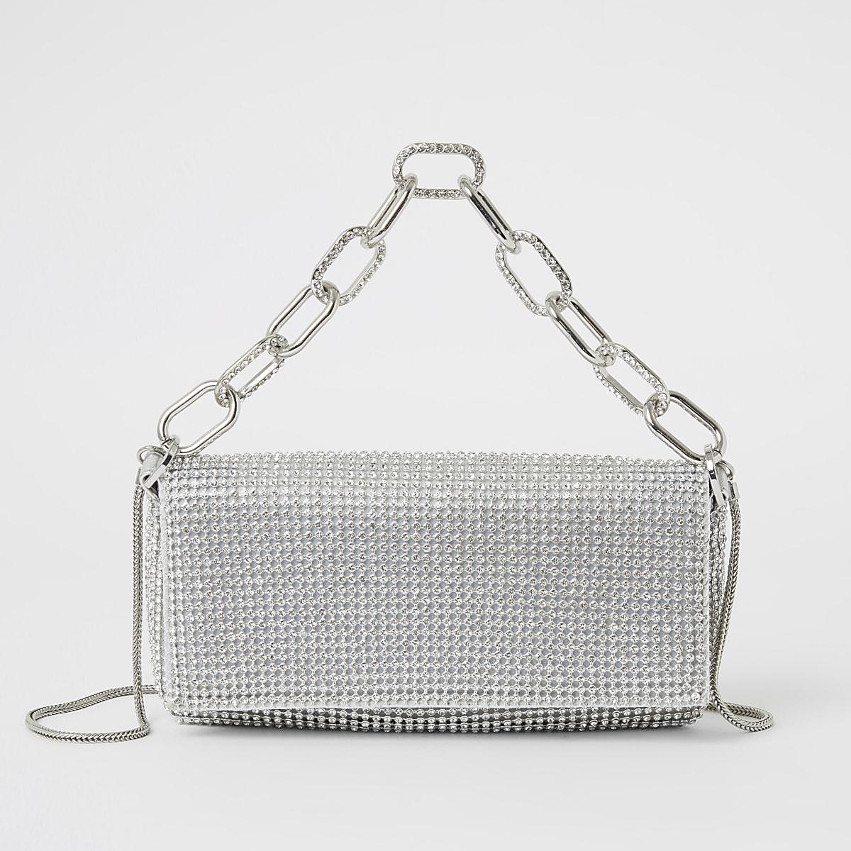 Silver diamante embellished underarm bag