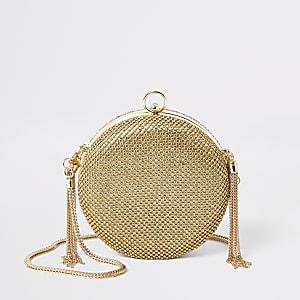 Goldfarbene Umhängetasche mit strassbesetztem Kreis