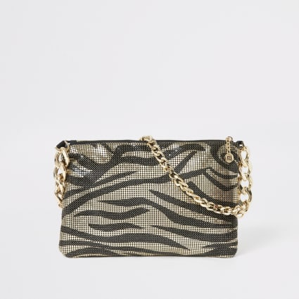 Gold animal print chainmail underarm bag
