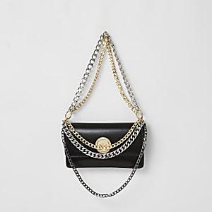 Zwarte schoudertas met gelaagde ketting
