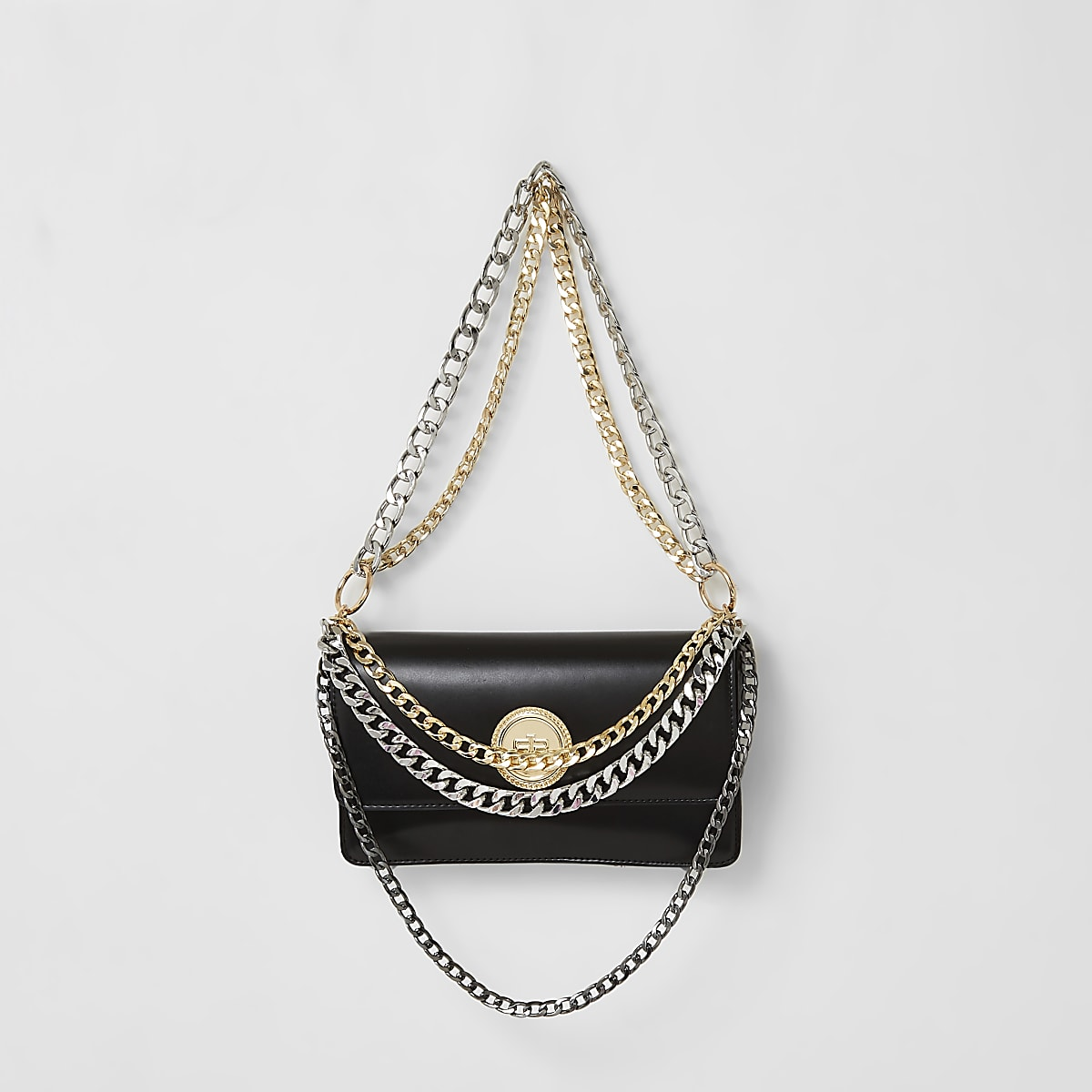 Black layered chain underarm bag