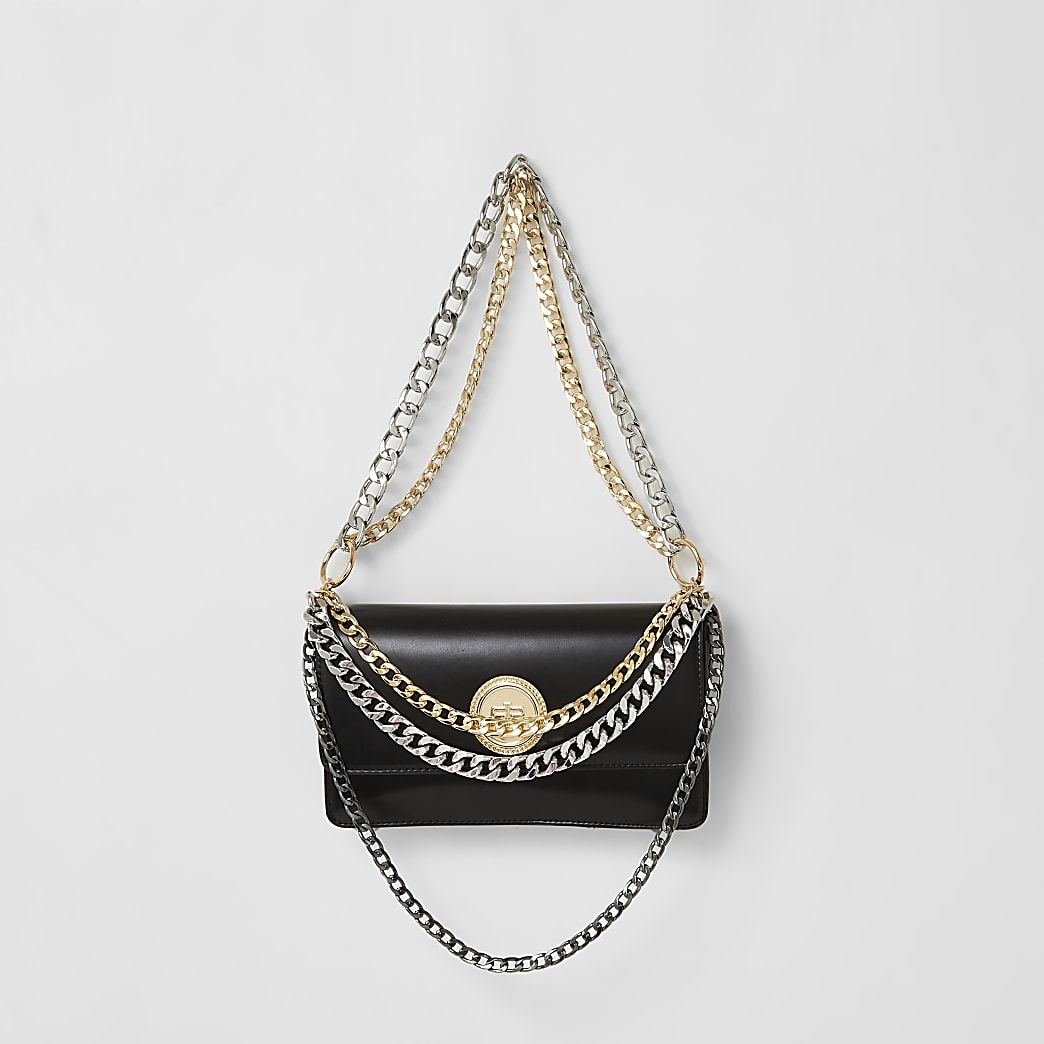 Schwarze Ketten-Handtasche im Lagenlook