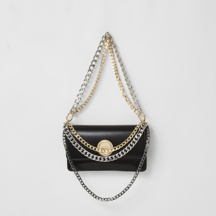 Black layered chain underarm bag