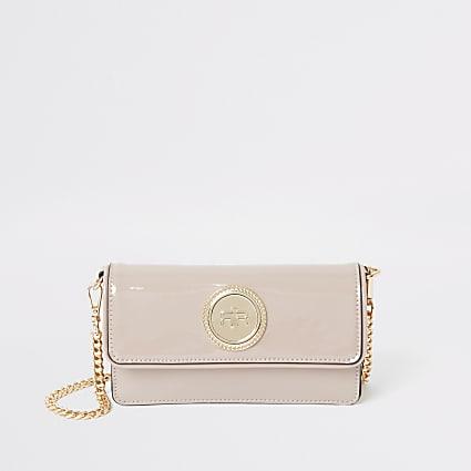 Pink patent foldover underarm bag