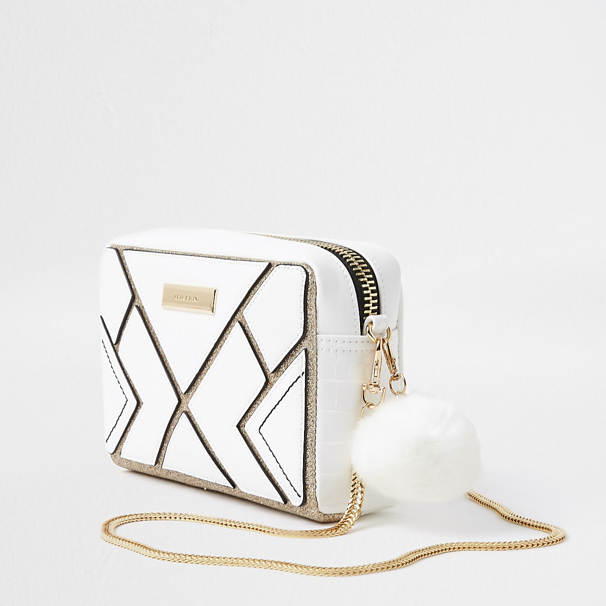 Witte vierkante crossbodytas met uitsnede