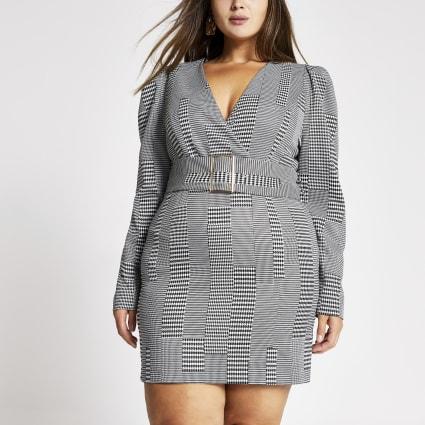 Plus black check belted mini dress