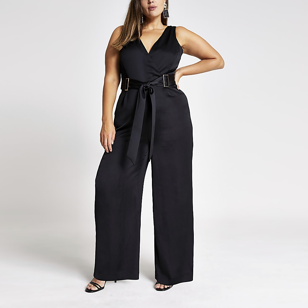 Plus black V neck belted jumpsuit