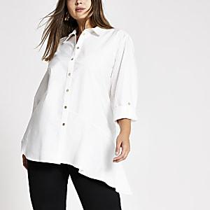 Plus – Weißes, asymmetrisches Langarmhemd