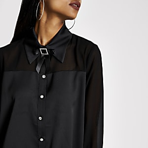 Petite black diamante bow collar shirt