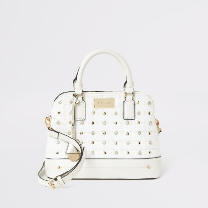 Cream diamante studded cross body bag