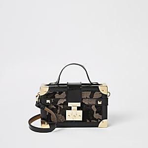 Bronzen metallic camouflage mini-koffer tas