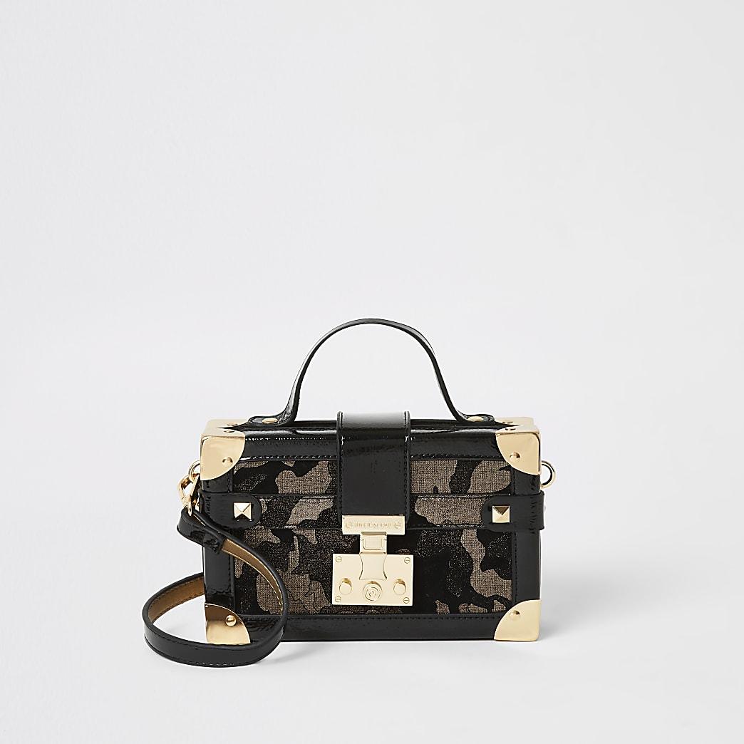 Bronze metallic camo mini trunk bag
