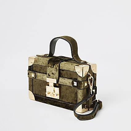 Khaki velvet mini trunk cross body bag