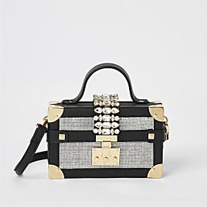 Mini sac coffre enbandoulière noir orné de strass