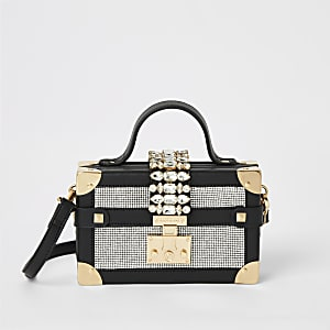 Zwarte mini-koffer tas verfraaid met siersteentjes