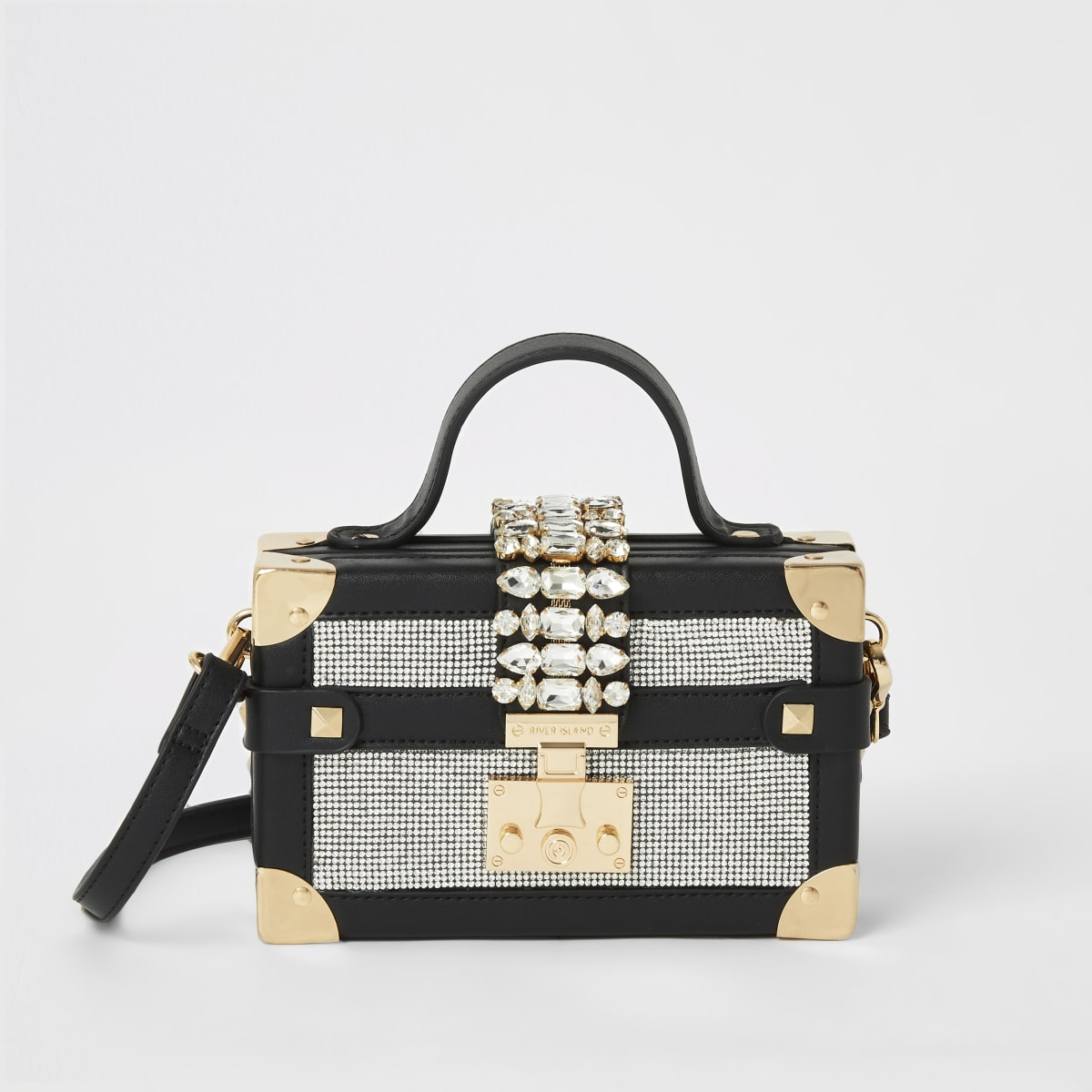 Black diamante embellished mini trunk bag