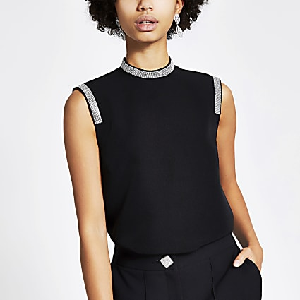 Black diamante trim sleeveless top