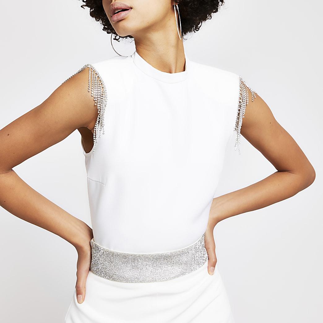 White diamante tassel sleeveless top