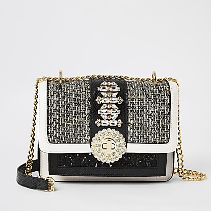 Black boucle embellished lock cross body bag