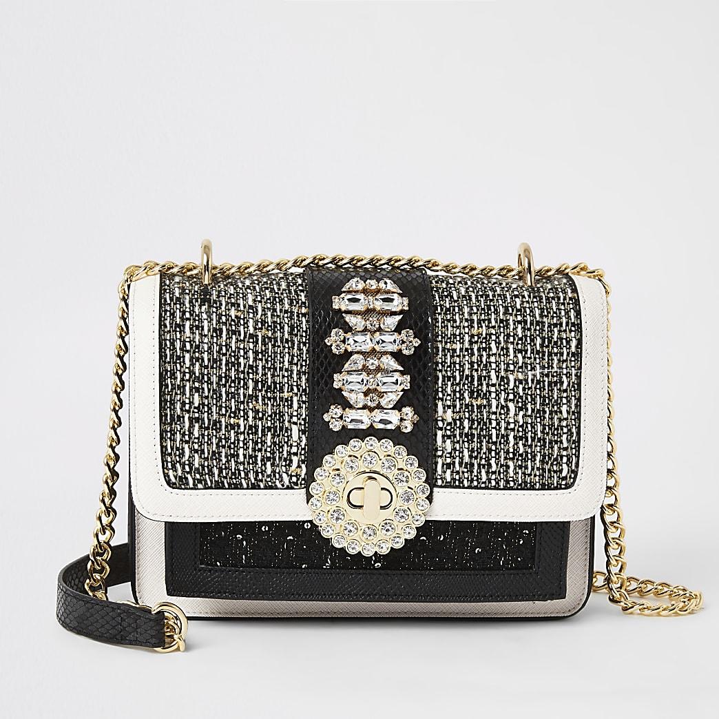 Black boucle embellished lock cross body bag
