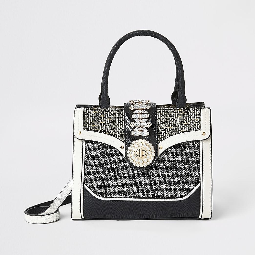 Black boucle diamante embellished tote bag