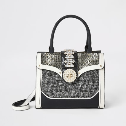 Black boucle diamante embellished tote bag