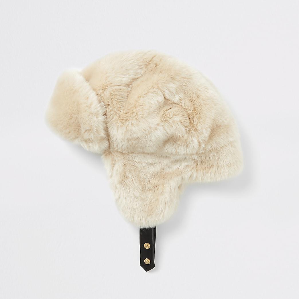 Beige faux fur trapper hat