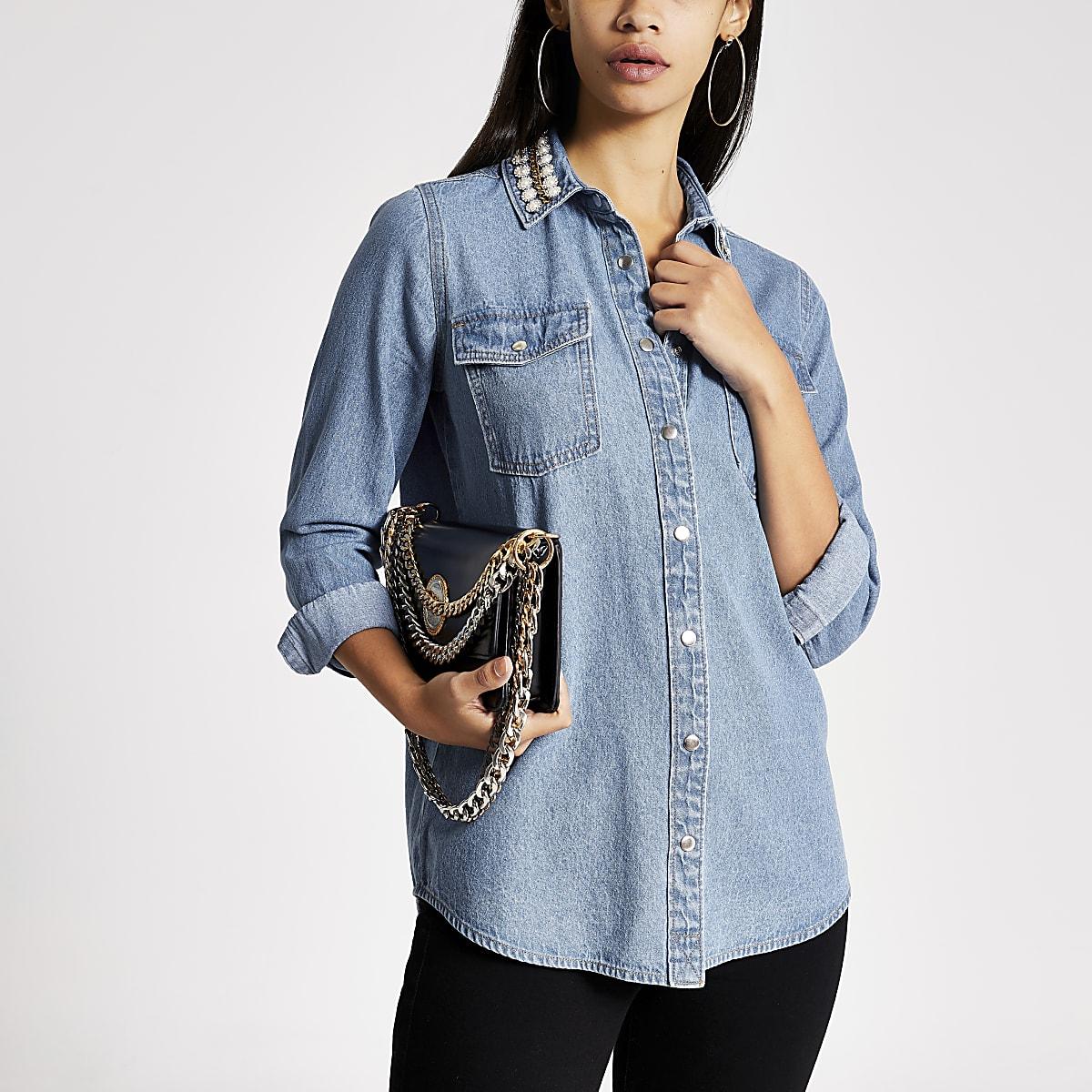 Blue embellished collar denim shirt