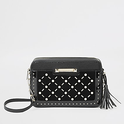 Black velvet pearl studded cross body bag