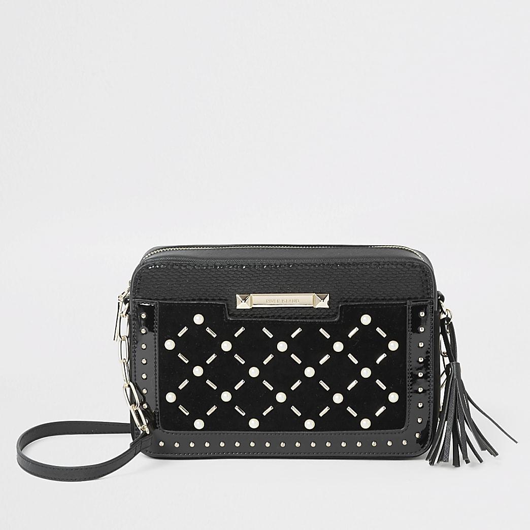 Black velvet pearl studded cross body bag