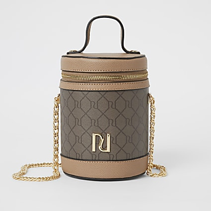 Brown RI monogram cylinder zip top bag
