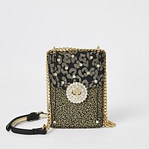 Goldene Umhängetasche mit Leopardenprint-Verzierung
