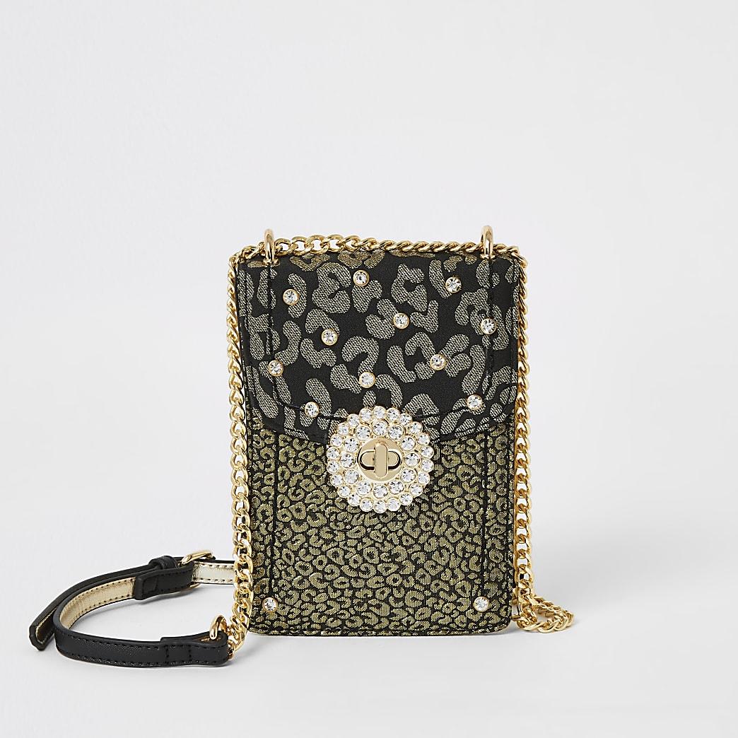 Gold leopard print embellish cross body bag