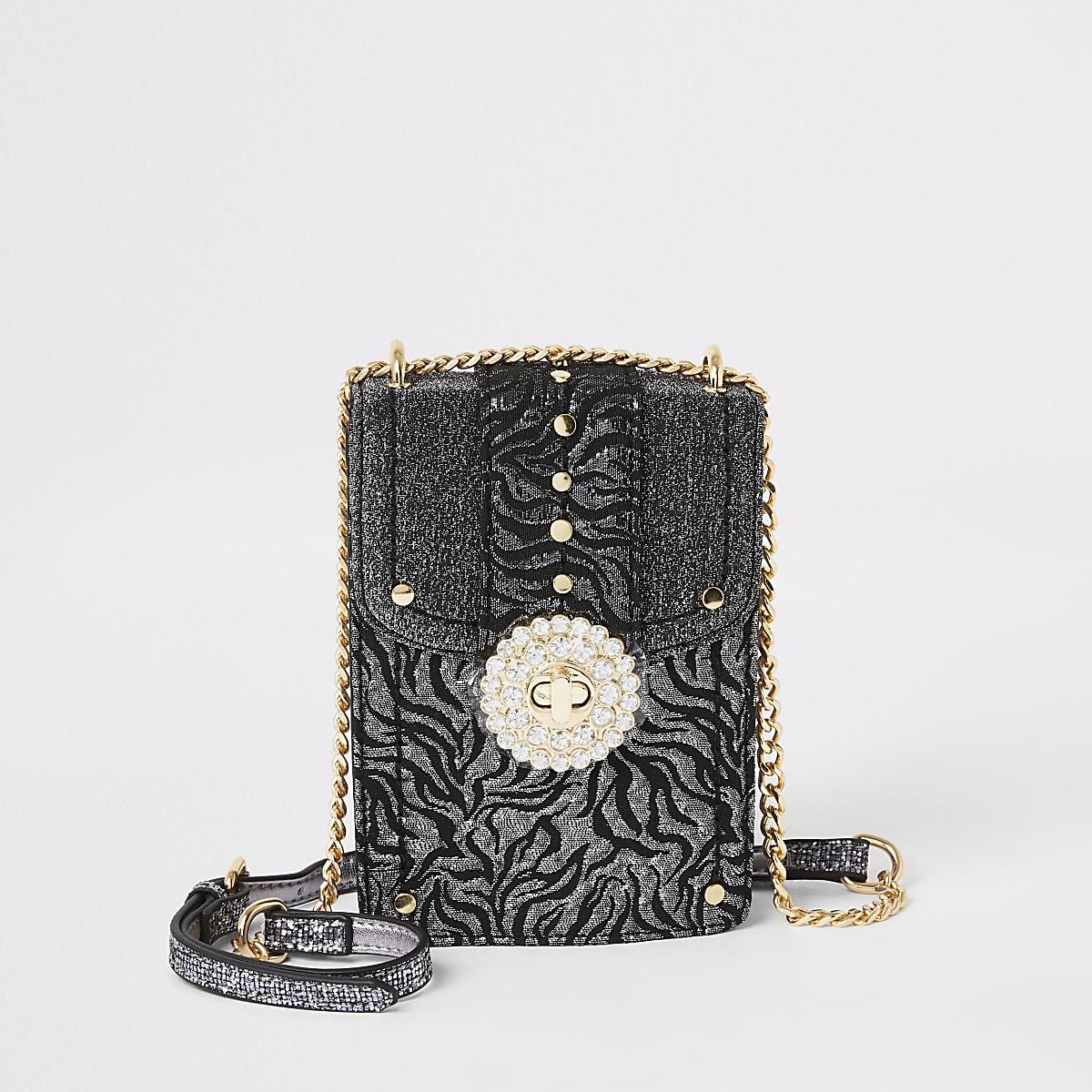 Silver jacquard embellished cross body bag