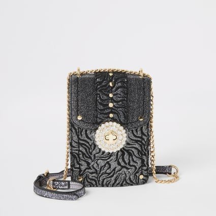 Silver jacquard embellished cross body bag