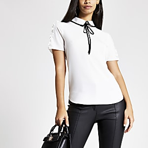White print contrast bow collar top