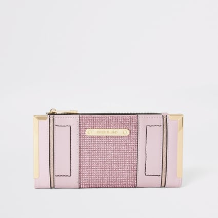 Pink diamante embellished metal corner purse