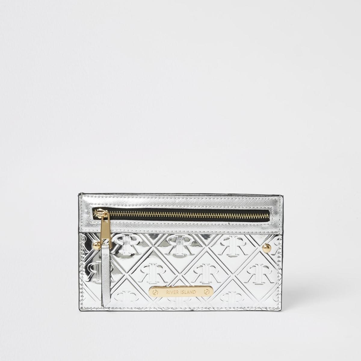 Zilverkleurige metallic buidelportemonnee met kaarthouder en RI-letters