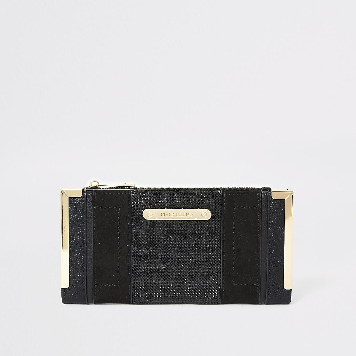 Zwarte verfraaide uitvouwbare portemonnee met siersteentjes