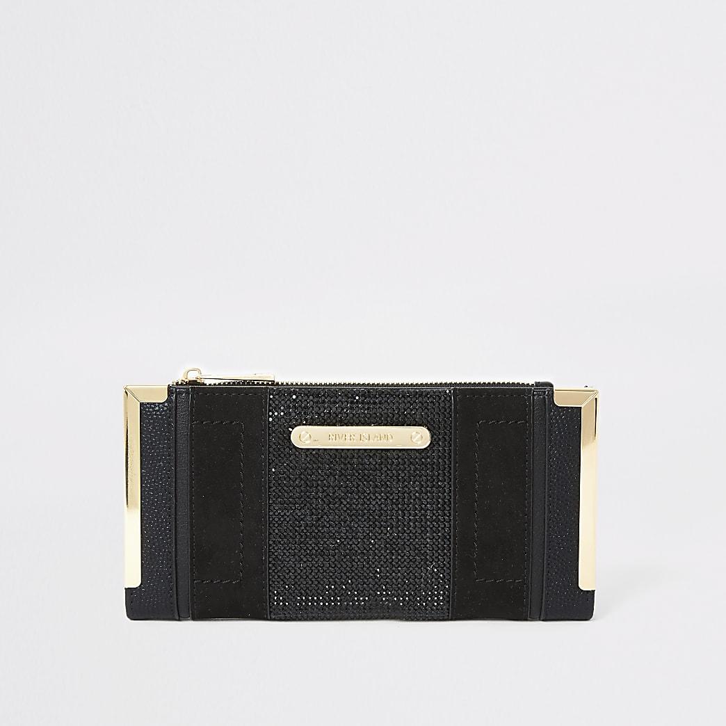 Portefeuille à rabat noir orné de strass