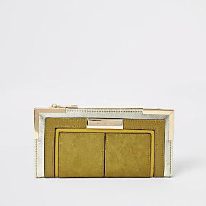 Donkergeleuitvouwbare portemonnee met metalen hoeken