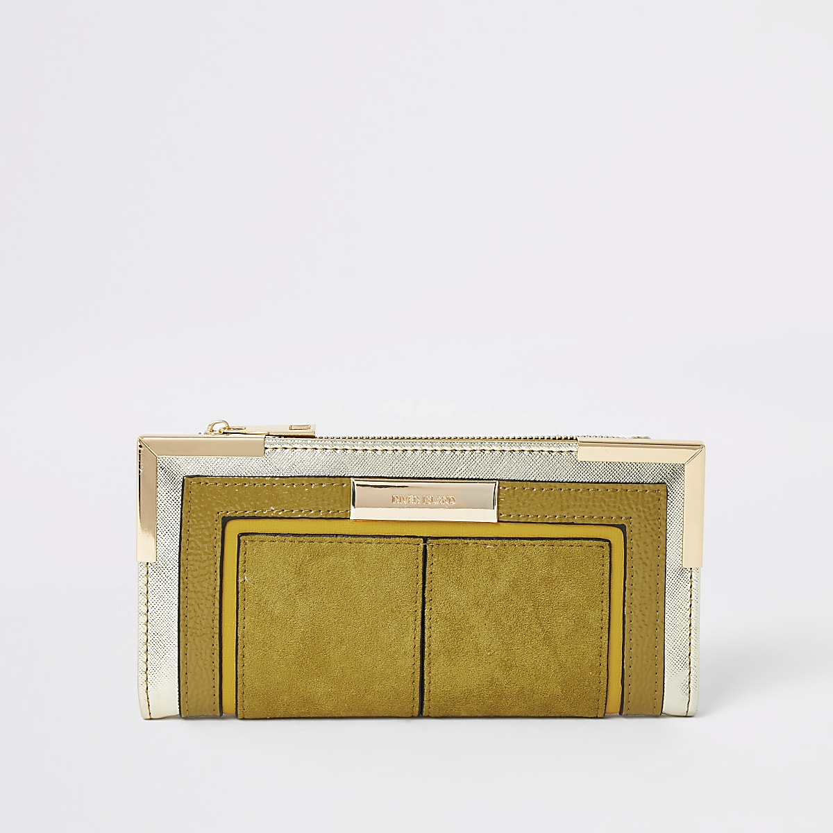 Dark yellow foldout metal corner purse