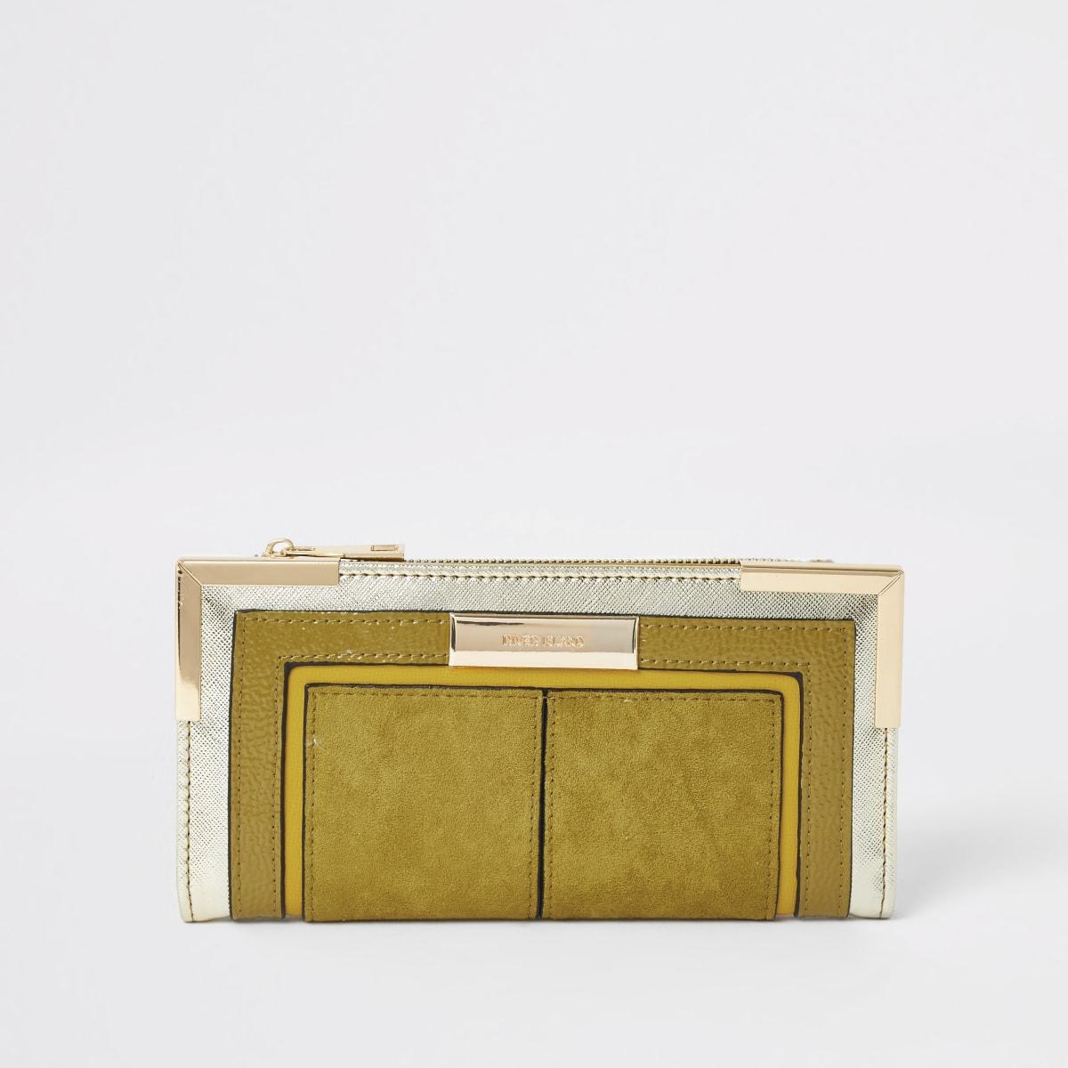 Dark yellow foldout metal corner purse