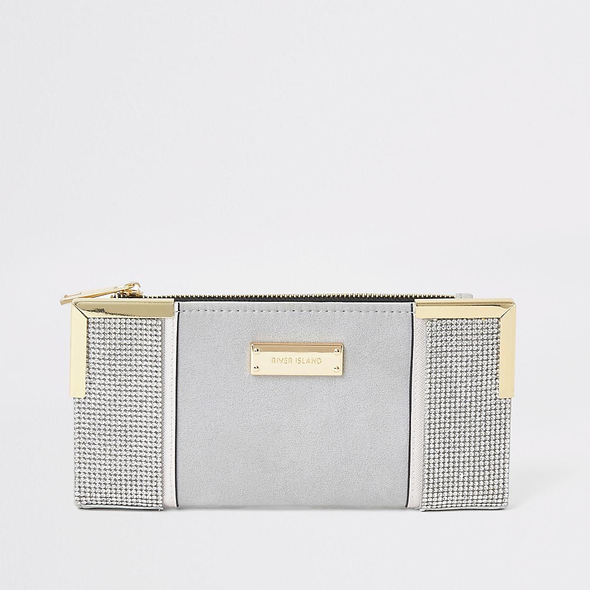 Grijze uitvouwbare portemonnee met metalen hoeken en siersteentjes