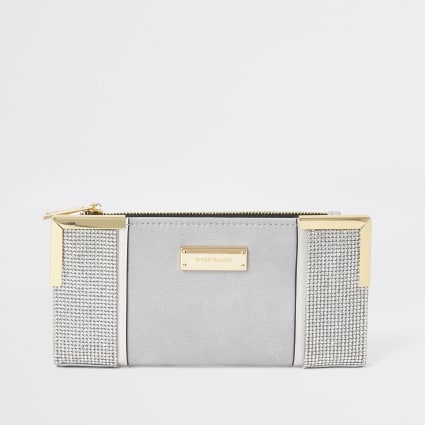 Grey diamante foldout metal corner purse